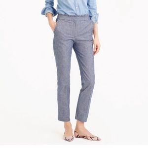 JCrew Chambray Ruffle Cropped Pants